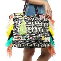 Fox + Hawk Fringed Jacquard Shoulder Bag