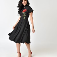 Unique Vintage 1950s Black & Embroidered Red Rose Baltimore Swing Dress