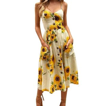 Ladies Print Floral Long Boho Bohemian Beach Summer Dress Women Sundress Sexy V-Neck Sleeveless Strap Maxi Vintage Dress Vestido
