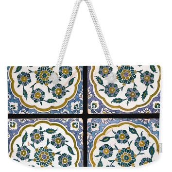 An Ottoman Iznik Style Floral Design Pottery Polychrome, By Adam Asar, No 14c - Weekender Tote Bag