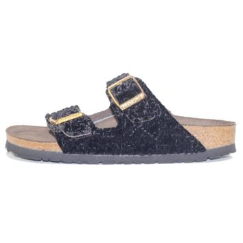 Birkenstock For Women: Arizona Suede/textile Persian Black Soft Footbed Sandal - Beauty Ticks