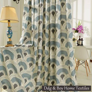 Printed curtains Linen curtain fabrics for young people living room modern style curtain panel