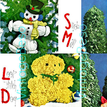 3 PATTERNS Christmas VARIETY Snowman and Loop Stitch Dog and Christmas Trees 1951 for Holiday Season contains Crochet Knitting Craft Yarn