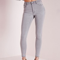 Missguided - Hustler Mid Rise Skinny Jeans Grey