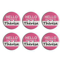 Theresa Hello My Name Is Plastic Resin Button Set of 6