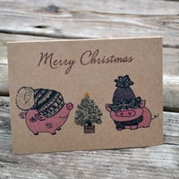 Christmas Card -  Christmas Pig - Oink - Cute Pig - Pig Card - Merry Christmas - Funny Holiday Card - Holiday Pig Card - Humorous Card