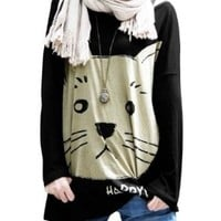 Allegra K Women Batwing Sleeve Loose Cat T Shirts Casual Oversize Tops