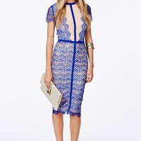 SATSUKO LACE PANEL MIDI DRESS IN COBALT BLUE