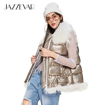 New Winter High Fashion Street woman designs silver down Jacket girl's vest with lamb fur
