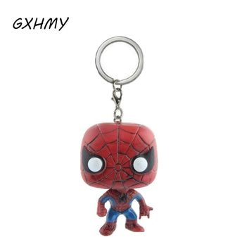 Marvel The Avengers Super Hero Spiderman Action Figures Children Toy Keychain With Retail Box