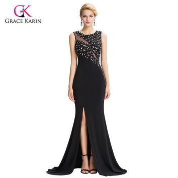 Mermaid Evening Dresses Grace Karin Black See Through Sheer 2017 New Arrival Sexy Slit Formal Evening Gowns Long Party Dresses
