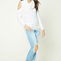 Cowl Neck Open-Shoulder Sweater