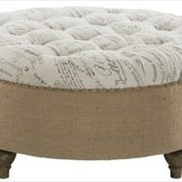 Aidan Gray - Tufted Scripted Round Ottoman - F134