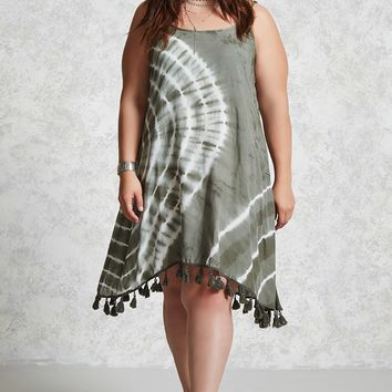 Plus Size Tie-Dye Tassel Dress