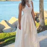 Champagne Maxi Dress with Tulle Back