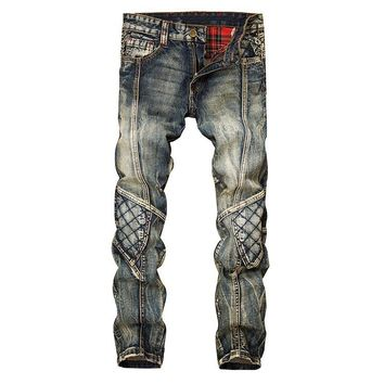 Men biker skinny ripped jeans punk mens plaid jeans