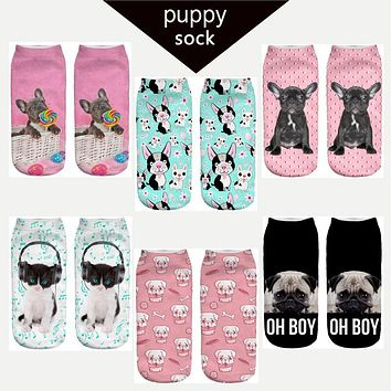 2017 new arrival puppy dog doggie printed ankle socks cute pug socks space dog women boy and girl teenager Harajuku