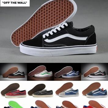 Unisex Old Skool Vans Canvas Shoes Classic White Black Brand Women And Mens Mid Skateboarding Sneakers Casual Shoes