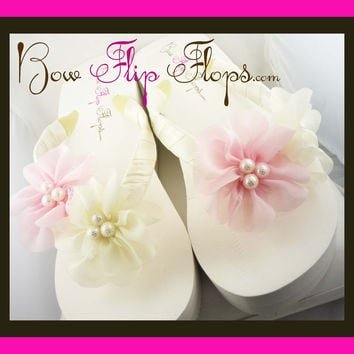 Wedding Flip Flops -Pink & Ivory Pearl Chiffon Flower - Bride Wedge - Bridesmaid Platform Satin -Flip Flop Sandals