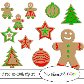 Christmas Cookie Clip Art Set – Red and Green Gingerbread Men, Stars, Christmas Trees, and Ornaments - instant download clipart - CU OK