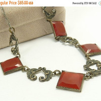 Art Deco Silver & Carnelian Necklace Czech Glass Riviera Necklace