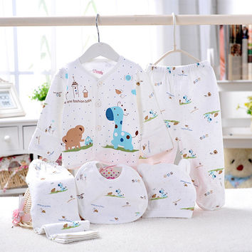 DreamShining Baby Boy Girl Clothes Newborn Layette Underwear Animal Print Shirt Pants Hat Suit Cotton Clothing Set 5 Pcs Outfits