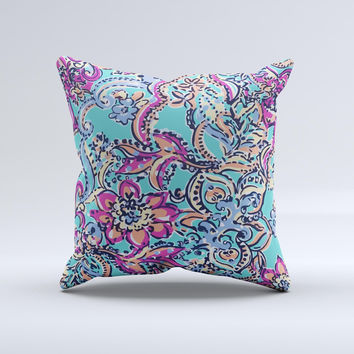 Bright WaterColor Floral  Ink-Fuzed Decorative Throw Pillow