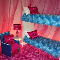 Doll Furniture - Playscale for Barbie / Monster High/ Bratz... - Icey Blue & Pink Bunk Beds w/Accent Chair