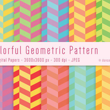 10 Colorful Gift Wrapping Paper Geometric Digital Patterns Backgrounds - 300 dpi - JPEG - 3600x3600px