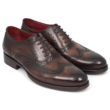 Paul Parkman Wingtip Oxfords Goodyear Welted Brown Shoes (ID#027-BRW)