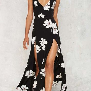BLACK PLUNGE NECKLINE SLEEVELESS OPEN SLIT DESIGN FLORAL PRINT MAXI DRESS