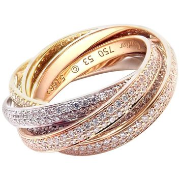Cartier Pave Diamond Three-Color Gold Two for Trinity Six-Band Ring