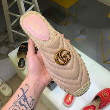 GUCCI Summer Popular Women Leather Half Slipper Mules Shoes Pink&Apricot