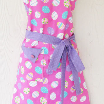 Pink Easter Apron, Easter Eggs, Retro Full Apron, Lavender Pin Dot, KitschNStyle