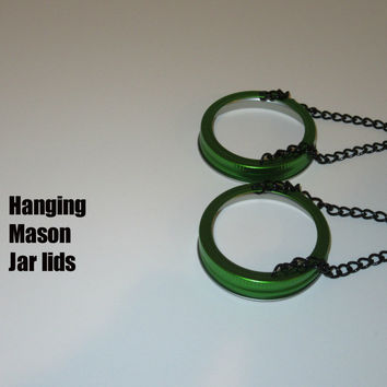 Set of 2 - Green (W/Black Chain) Hanging Mason Jar Lids - wedding garden outdoor - Lantern Tea Light Luminaries - (2 Hanging Lids)