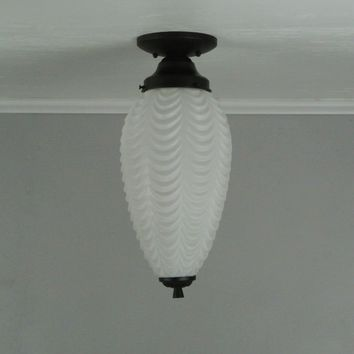 Art Deco Frosted Glass Flush Mount Light