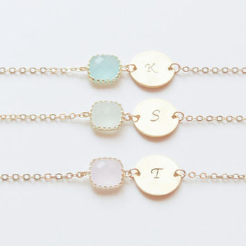 Personalized Bracelets | Birthstone & Initial Bracelet | Birthstone Bracelet | Initial Bracelet | Bridesmaids Bracelets | Christmas Gift