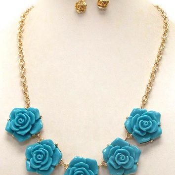 Multi Acrylic Rose Gold Link Necklace Earring Set