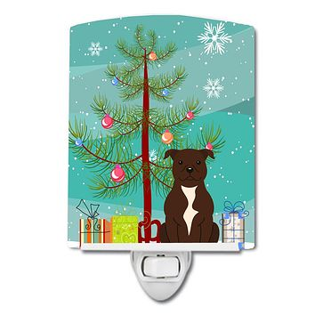 Merry Christmas Tree Staffordshire Bull Terrier Chocolate Ceramic Night Light BB4173CNL