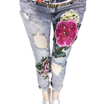 Women Luxury Beading Embroidered Flared Jeans Female Vintage Large Size Jeans Boyfriend Loose Ripped Denim Trousers
