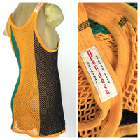 Pendeen String Vest, Rare Open Weave Tank Top, Jamaica Colors, See Through Vintage Tank Dress, Reggae Rastafarian Ire, England String Top XL