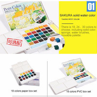 SAKURA Solid Water Color Paint 4PCs 18/24/30 Colors Set Solid Water Color+needle Pen+Water Brush+Watercolor Paper Sketch Children Gift