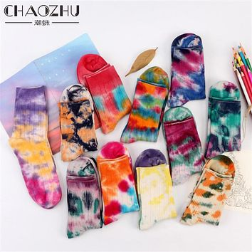 CHAOZHU 2017 New Fashion Tie Dye Socks Pack of 1 Bright Fun Unique Socks - Ladies Ice Dye Socks