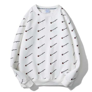 Champion Fashion New More Letter Print Thick Keep Warm Women Men Long Sleeve Top Sweater White