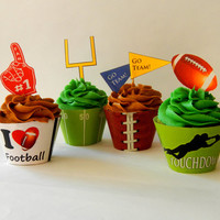 Instant Download - Football Cupcake Wrappers and Toppers - DIY Printable Party Decorations