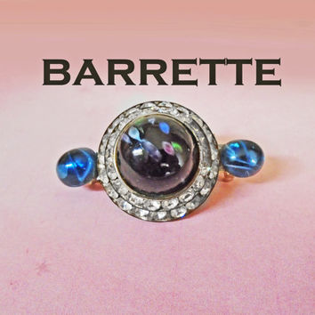 Rhinestone Barrette - OOAK Retro Hair Jewelry - Holiday Hair Glitz or Blue Scarf Clip
