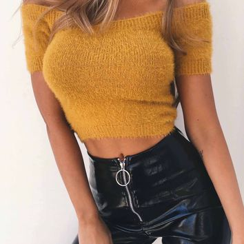 Strapless Short Sleeves Solid Color Short Crop Top Knitwear Sweater
