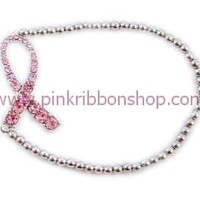 Breast Cancer Stretch Bracelet with Horizontal Crystal Pink Ribbon - Silvertone