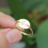 Signature Engraved Oval Ring - Initial Name Ring - Personalized Gifts - Sterling Silver / 18K Gold Plated