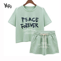 2017 new short-sleeved fashion simple green gray English alphabet women shorts women pajamas  sets